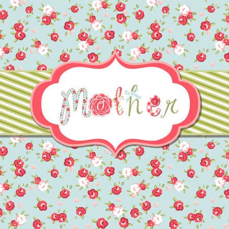 """dibujo vintage: Dibujado a mano Vector marco floral con la palabra """"madre"""". Gran Madre de tarjeta del d�a"""