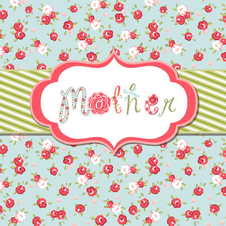Hand drawn Vector floral frame with a word mother. Great Mothers day card Çizim