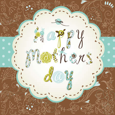 postcard background: Template frame design for a Mothers Day card  Illustration