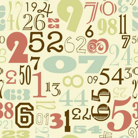 レトロなビンテージ スタイルのシームレスな数値の背景