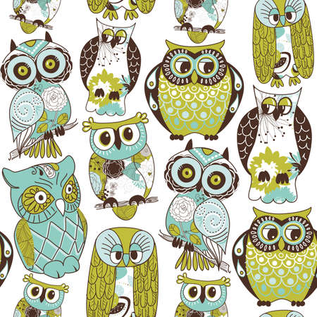 Seamless owl pattern.  Vector