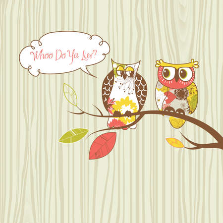 Two pretty owls sitting on the branch. Illustration