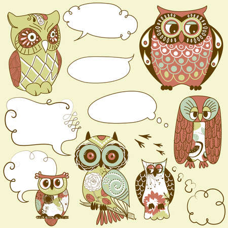 Collection of six different owls with speech bubbles  Vector
