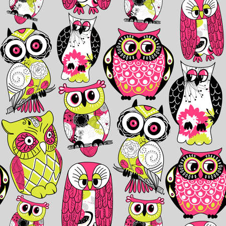 Stock Illustration Seamless and colourful owl pattern