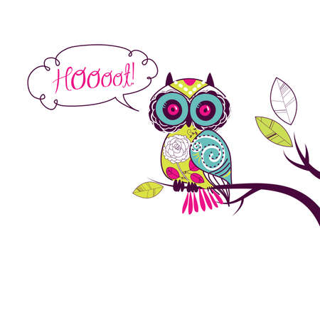 Cute Owl   Hoooot  card Stock Vector - 13339734