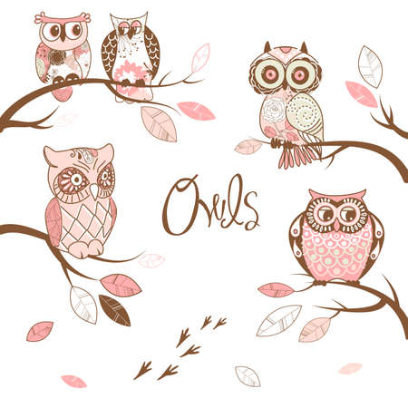 owl symbol: Owls, trendy card with owls sitting on the brunches