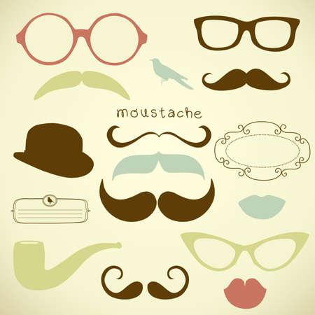 Retro Party set - Sunglasses, lips, mustaches Ilustração