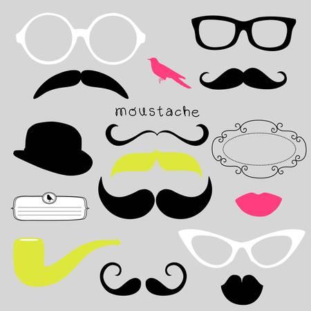 Retro Party set - Sunglasses, lips, mustaches  Ilustrace