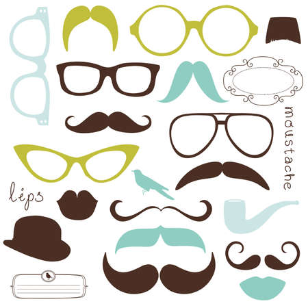 hair mask: Retro Party set - Sunglasses, lips, mustaches Illustration