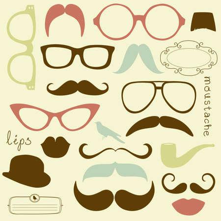 fake mustaches: Retro Party set - Sunglasses, lips, mustaches Illustration