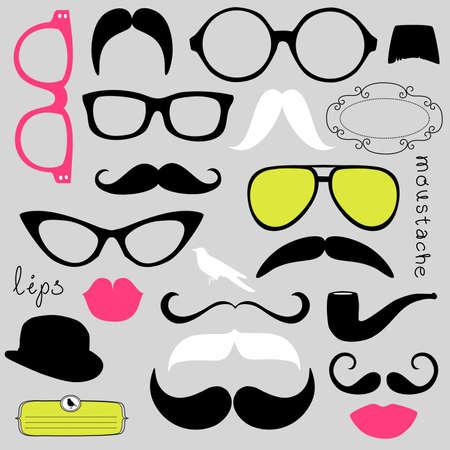 occhiali da vista: Partito Retro set - Occhiali da sole, le labbra, baffi Vettoriali
