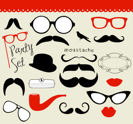 kiss lips: Retro Party set - Sunglasses, lips, mustaches  Illustration