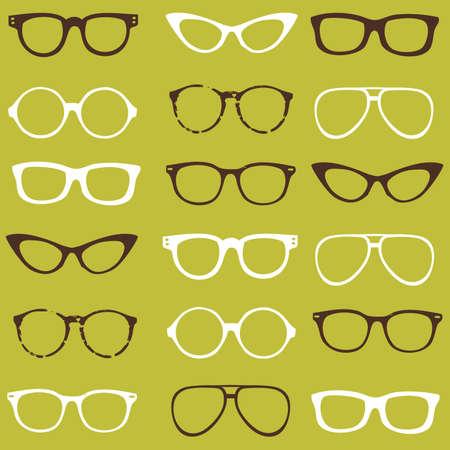 eyeglass frame: Trendy seamless pattern - different frames of spectacles Illustration