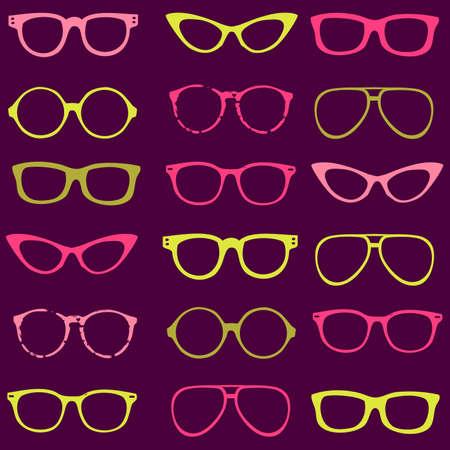 Trendy seamless pattern - different frames of spectacles Ilustração