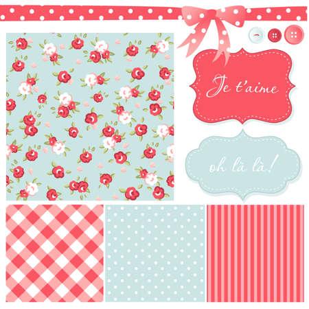 red polka dots: Vintage Rose Patr�n, marcos y fondos lindos sin costura. Ideal para la impresi�n sobre tela y papel o chatarra de reserva. Vectores
