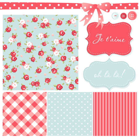 polka dot background: Vintage Rose Pattern, frames and cute seamless backgrounds. Ideal for printing onto fabric and paper or scrap booking.