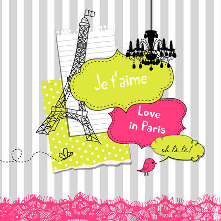 Cute scrapbook elements in French style  Vector