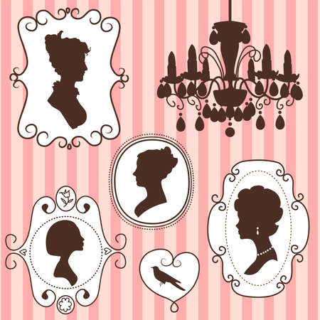Cute vintage frames with ladies silhouettes Banco de Imagens - 13339790