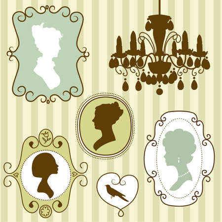 man face profile: Lindos cuadros de �poca con las siluetas de las se�oras Vectores