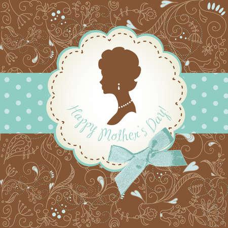 母の日カード。女性のシルエットを持つかわいいビンテージ フレーム