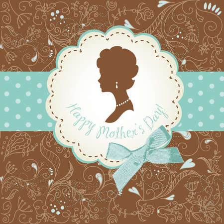 woman profile: Mothers day card. Cute vintage frames with ladies silhouettes Illustration
