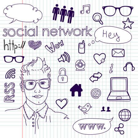 Social media network connection doodles Vectores