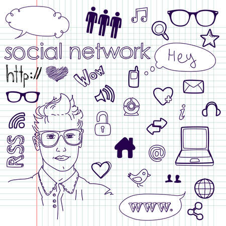 printer drawing: Social media network connection doodles Illustration