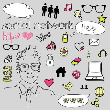 glasess: Social media network connection doodles