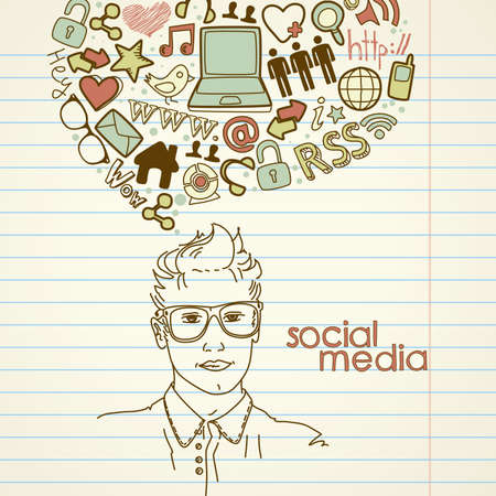Social network doodles. Handsome men with thought bubble  Vettoriali