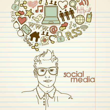 mental object: Garabatos de redes sociales. Hombres guapos con burbuja de pensamiento