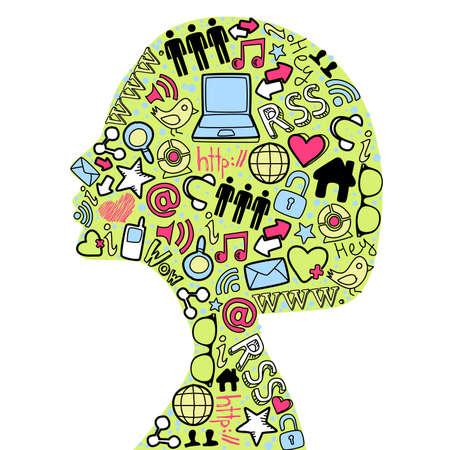 geek: Silhuette mujer cabeza hecha con medios de comunicación social conjunto de iconos.