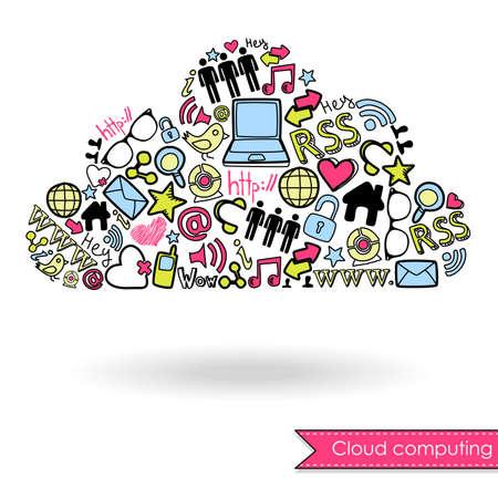 클라우드 컴퓨팅과 소셜 미디어 개념. 귀여운 손으로 그린 낙서
