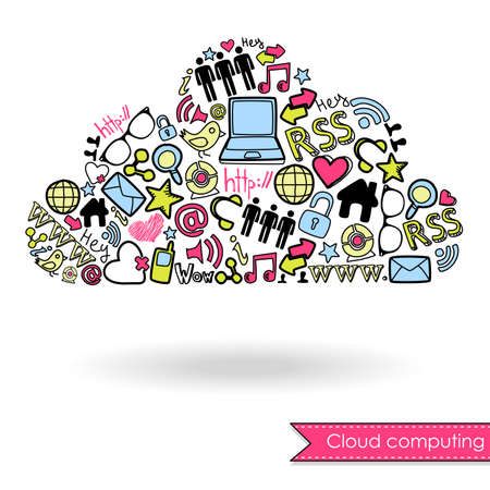Cloud computing and social media concept. Cute Hand drawn doodles Vector