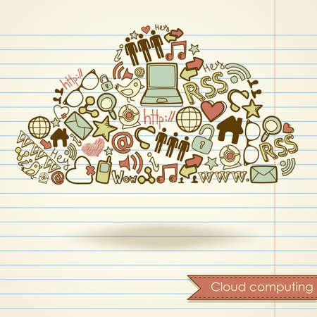 クラウドコンピューティングの概念と社会的なメディア  イラスト・ベクター素材