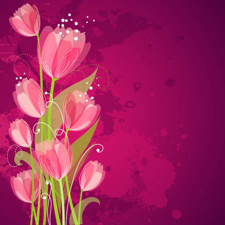 postcard background: Floral background with tulips