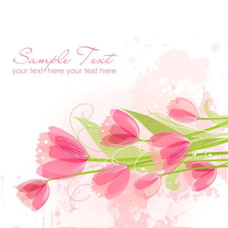 チューリップの花の背景  イラスト・ベクター素材