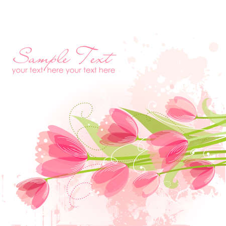 mothers day background: Sfondo floreale con tulipani Vettoriali