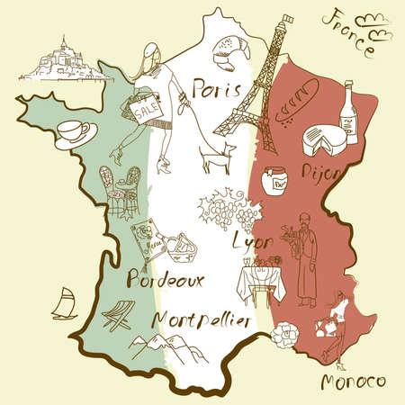 bundesl�nder: Stilisierte Karte von Frankreich. Dinge, die verschiedenen Regionen in Frankreich ber�hmt sind.