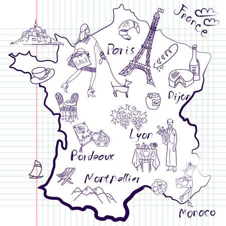 francia: Mapa estilizado de Francia. Cosas que las distintas regiones de Francia son famosos.