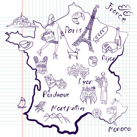 map wine: Stylized map of France. Things that different Regions in France are famous for.