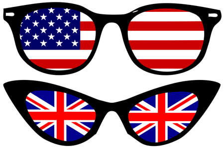 sunglasses reflection: Cool Spectacles with American and British flags