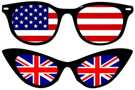 sehkraft: Coole Brillen mit amerikanischen und britischen Flaggen Illustration