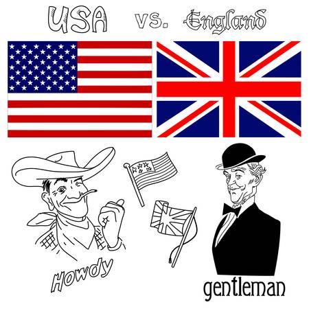 영국 대 미국 일러스트