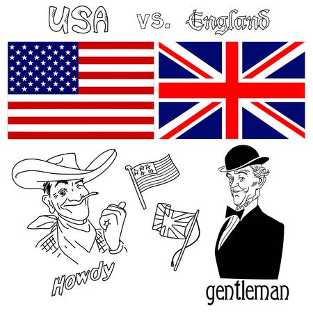 old english: America versus Great Britain Illustration