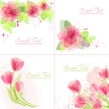 Set de 4 Fond de fleurs romantiques aux couleurs roses et blanches. Idéal pour invitation de mariage, carte d'anniversaire ou d'une carte fête des mères