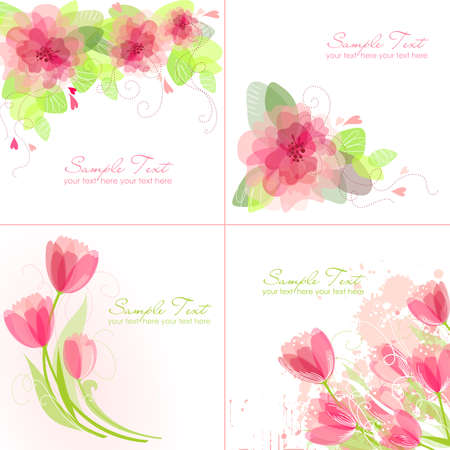 birth day: Set of 4 Romantic Flower Backgrounds in pink and white colours. Ideal for Wedding invitation, birthday card or mothers day card