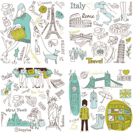 Italy, England, France, USA - four wonderful collections of hand drawn doodles Stock Illustratie