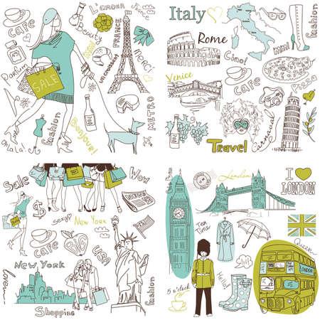 Italie, Angleterre, France, États-Unis - Quatre superbes collections de gribouillis dessinés à la main Banque d'images - 13339847