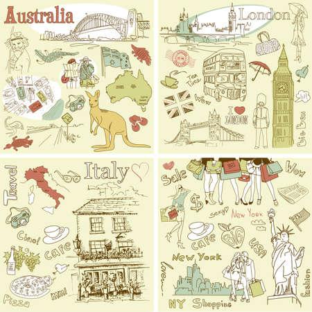 Olaszország, Anglia, Ausztrália, USA - négy csodálatos gyűjtemény kézzel rajzolt doodles Illusztráció