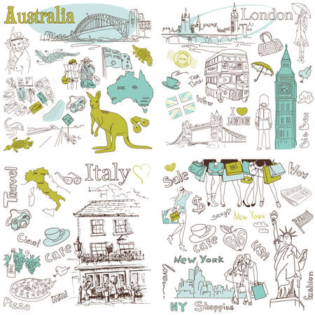 Italy, England, Australia, USA - four wonderful collections of hand drawn doodles  Vector